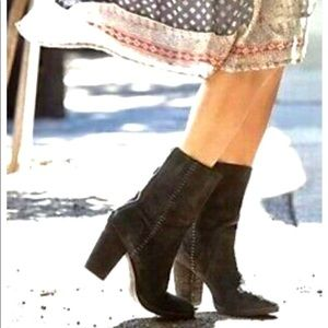 Free People Silk City Black Suede Boots  👢